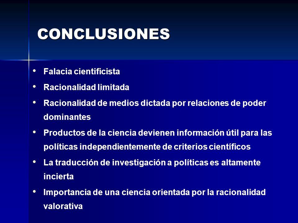 CONCLUSIONES Falacia cientificista Racionalidad limitada