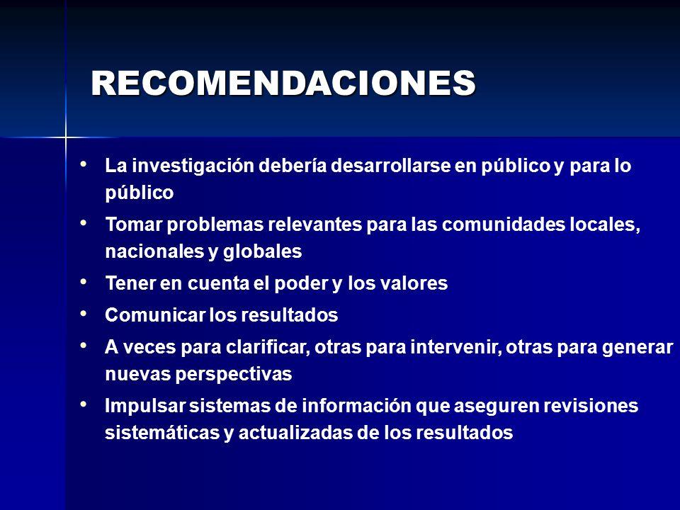 RECOMENDACIONES La investigación debería desarrollarse en público y para lo público.