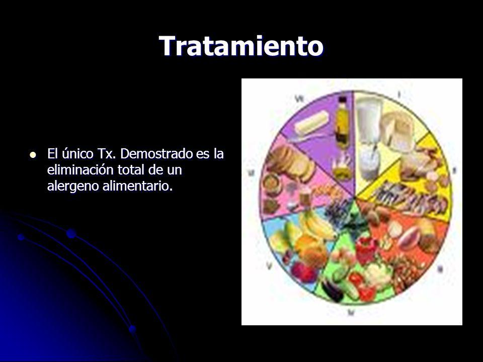 Tratamiento El único Tx. Demostrado es la eliminación total de un alergeno alimentario.