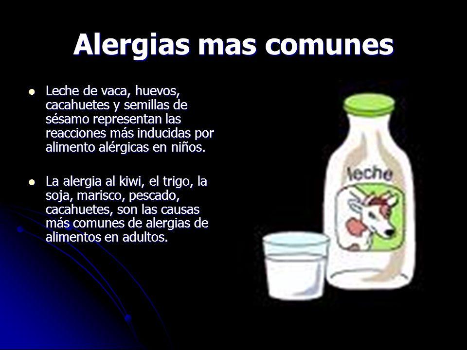 Alergias mas comunes Leche de vaca, huevos, cacahuetes y semillas de sésamo representan las reacciones más inducidas por alimento alérgicas en niños.