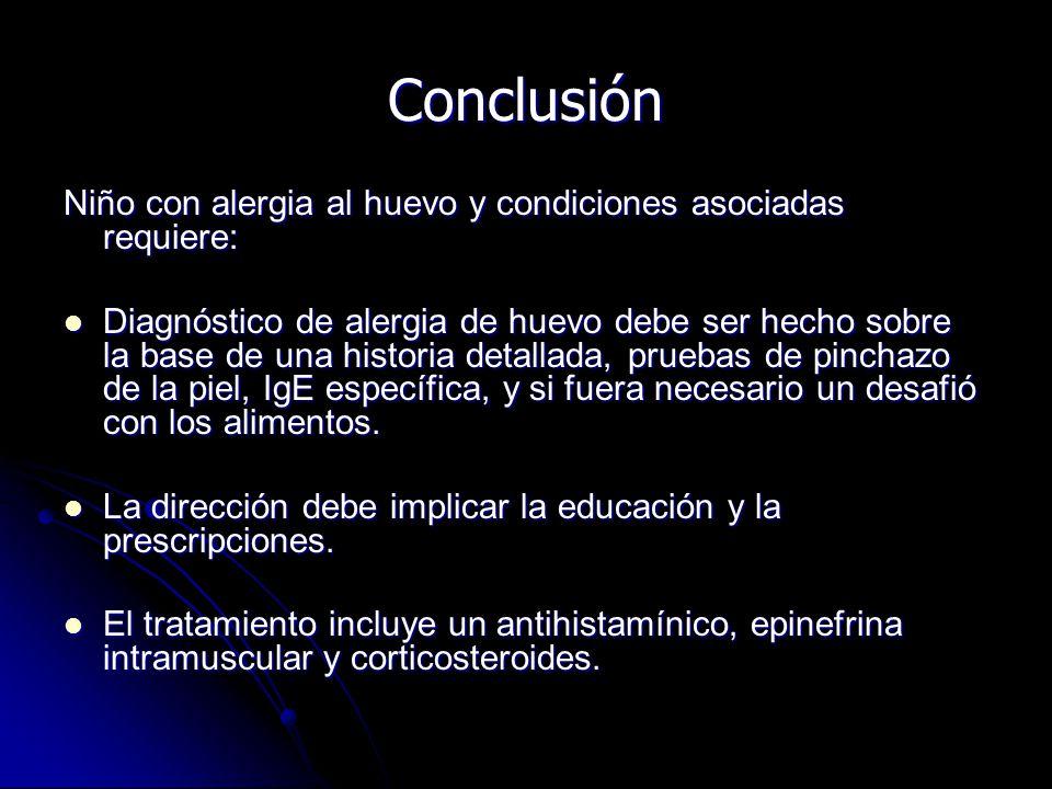 Conclusión Niño con alergia al huevo y condiciones asociadas requiere: