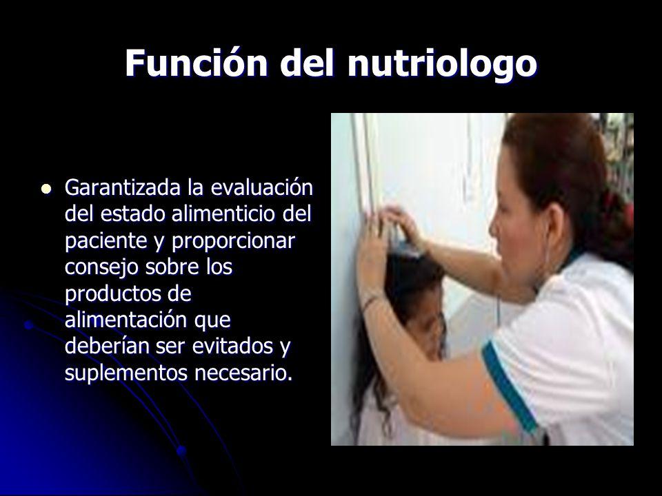 Función del nutriologo