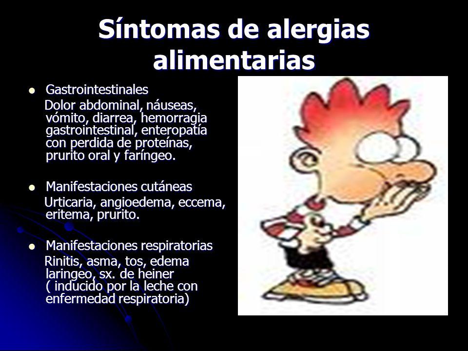Síntomas de alergias alimentarias
