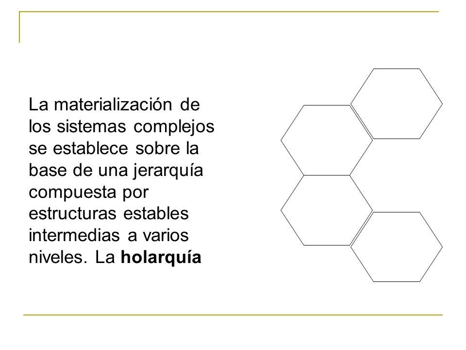 La materialización de los sistemas complejos se establece sobre la base de una jerarquía compuesta por estructuras estables intermedias a varios niveles.