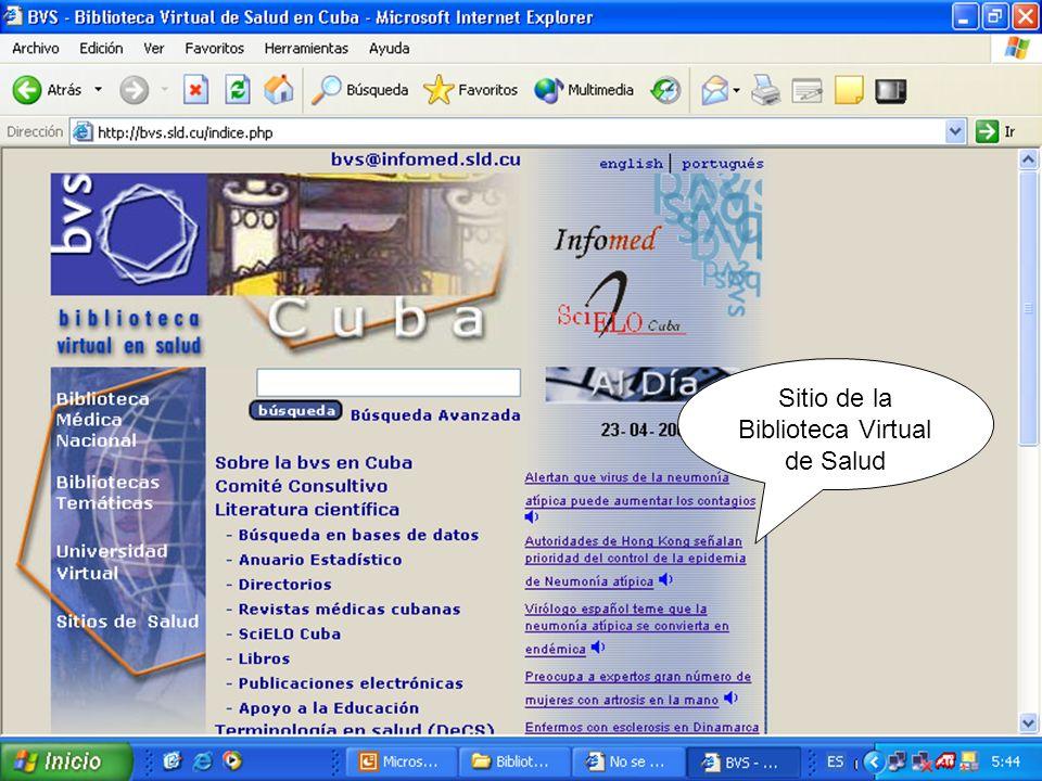 Sitio de la Biblioteca Virtual de Salud