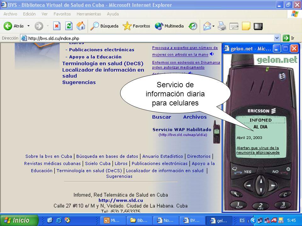Servicio de información diaria para celulares