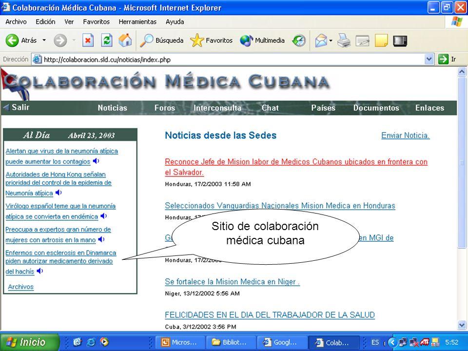 Sitio de colaboración médica cubana