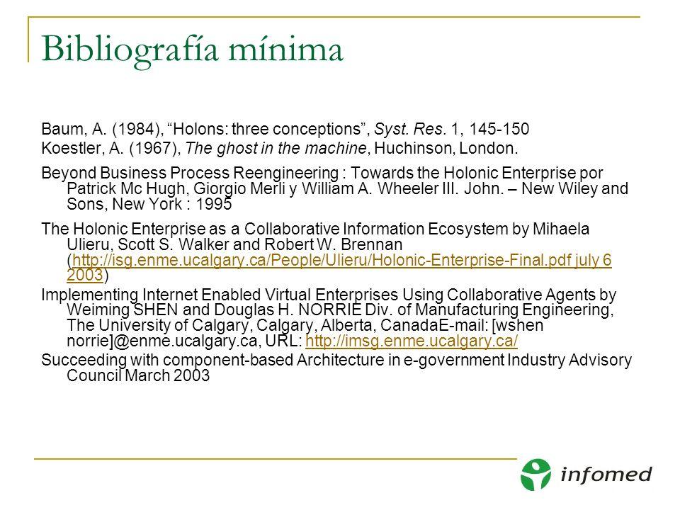 Bibliografía mínima Baum, A. (1984), Holons: three conceptions , Syst. Res. 1, 145-150.