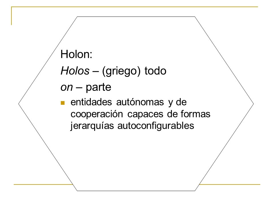 Holon: Holos – (griego) todo on – parte