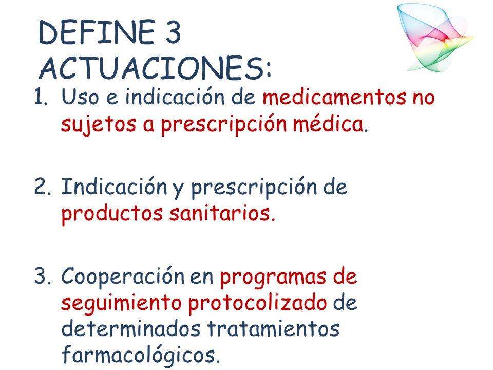 DEFINE 3 ACTUACIONES: Uso e indicación de medicamentos no sujetos a prescripción médica. Indicación y prescripción de productos sanitarios.