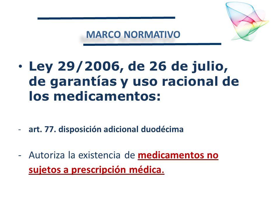 MARCO NORMATIVO Ley 29/2006, de 26 de julio, de garantías y uso racional de los medicamentos: art. 77. disposición adicional duodécima.