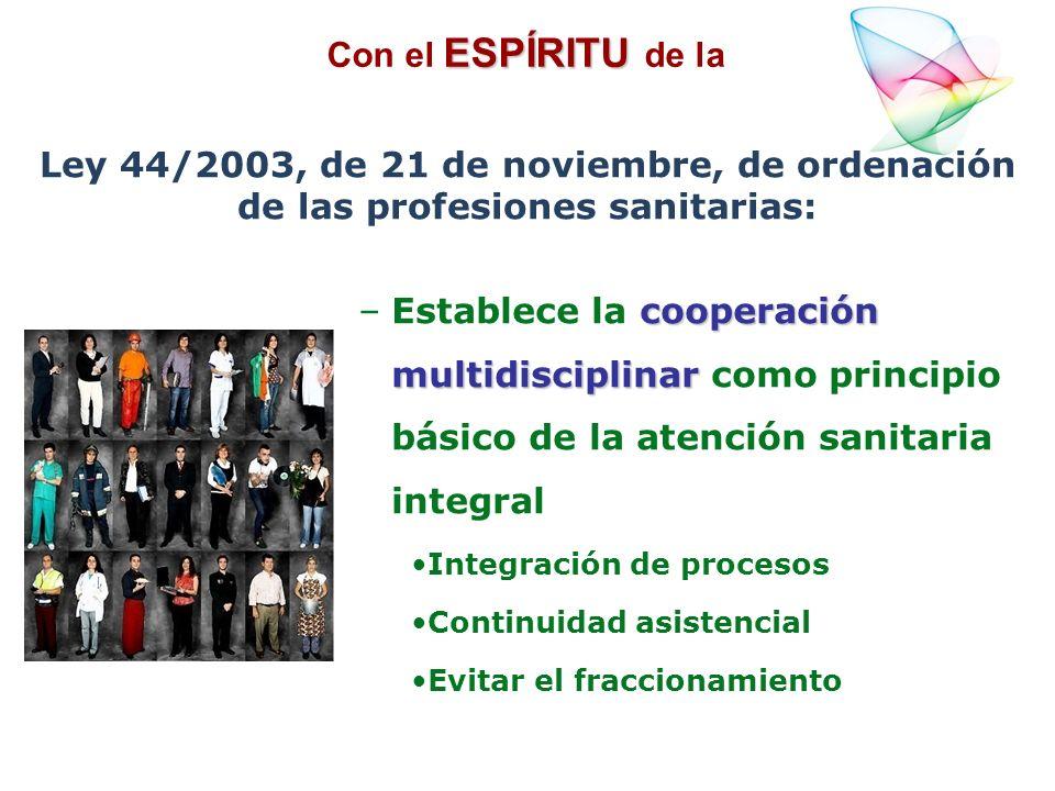 Con el ESPÍRITU de laLey 44/2003, de 21 de noviembre, de ordenación de las profesiones sanitarias: