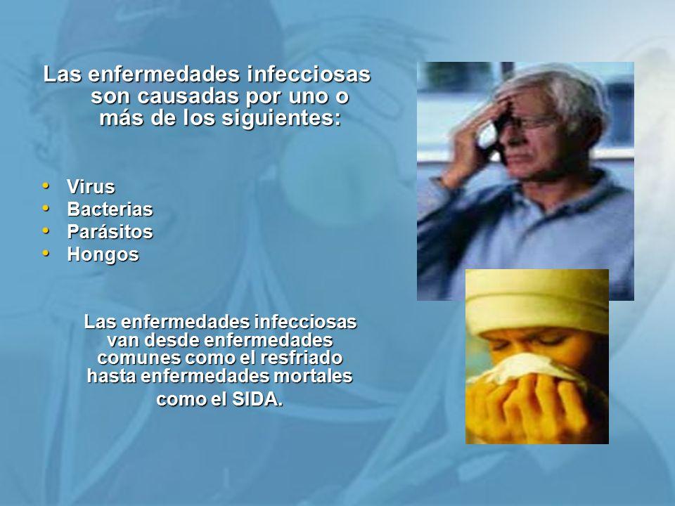 Las enfermedades infecciosas son causadas por uno o más de los siguientes:
