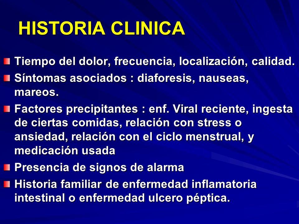 HISTORIA CLINICA Tiempo del dolor, frecuencia, localización, calidad.