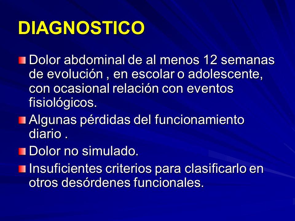 DIAGNOSTICO Dolor abdominal de al menos 12 semanas de evolución , en escolar o adolescente, con ocasional relación con eventos fisiológicos.
