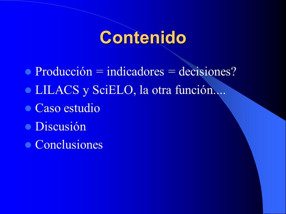 Contenido Producción = indicadores = decisiones