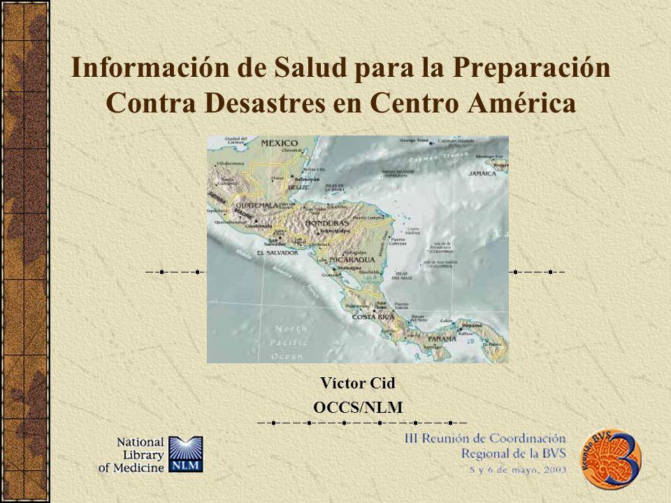 Información de Salud para la Preparación Contra Desastres en Centro América