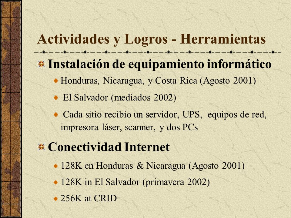 Actividades y Logros - Herramientas