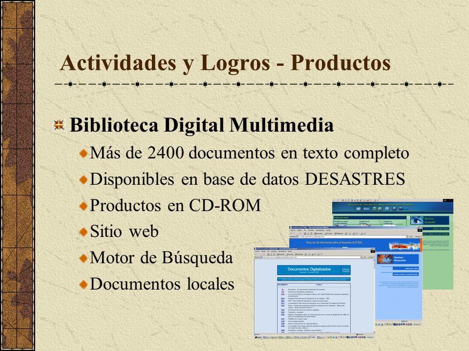Actividades y Logros - Productos