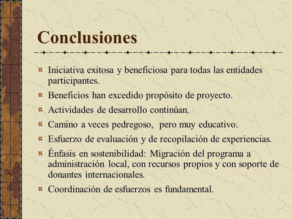 Conclusiones Iniciativa exitosa y beneficiosa para todas las entidades participantes. Beneficios han excedido propósito de proyecto.