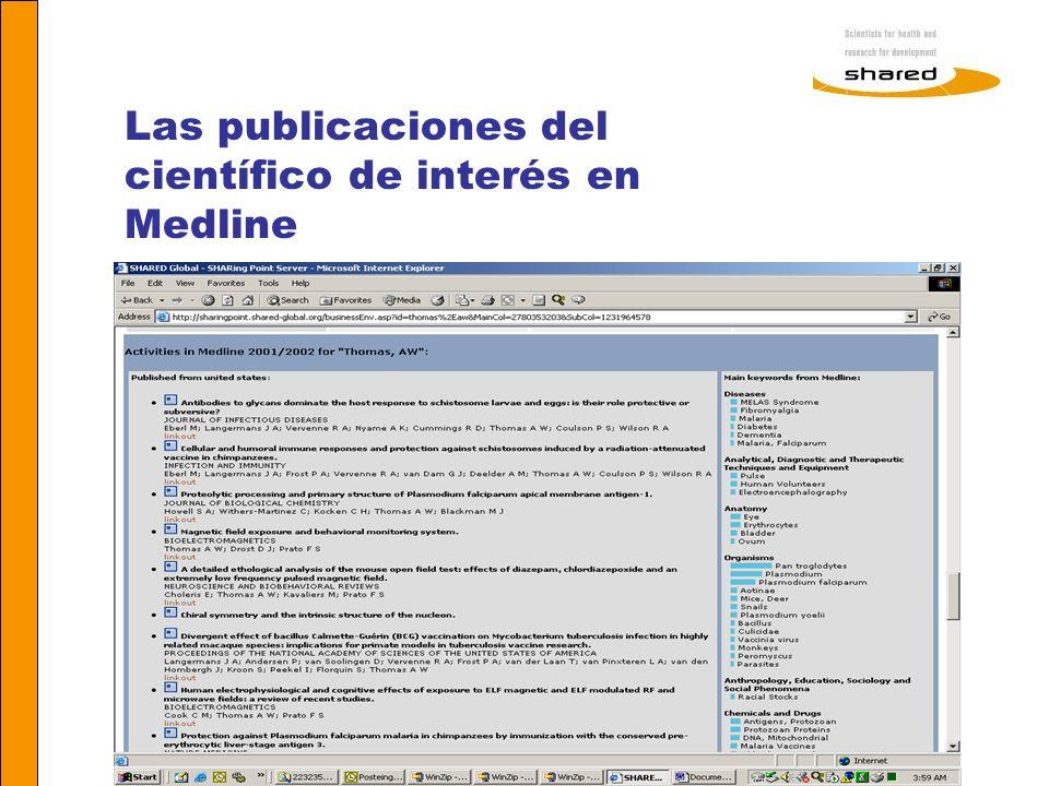 Las publicaciones del científico de interés en Medline