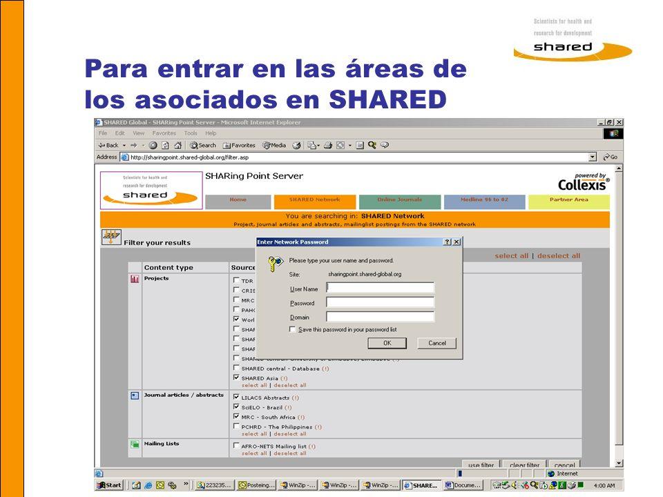 Para entrar en las áreas de los asociados en SHARED