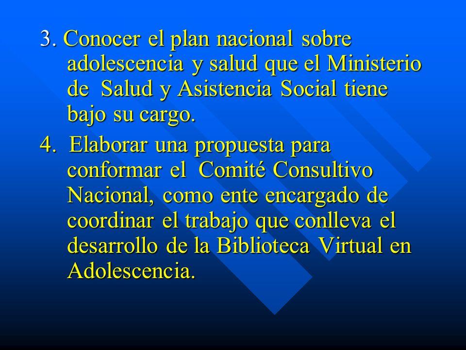 3. Conocer el plan nacional sobre adolescencia y salud que el Ministerio de Salud y Asistencia Social tiene bajo su cargo.