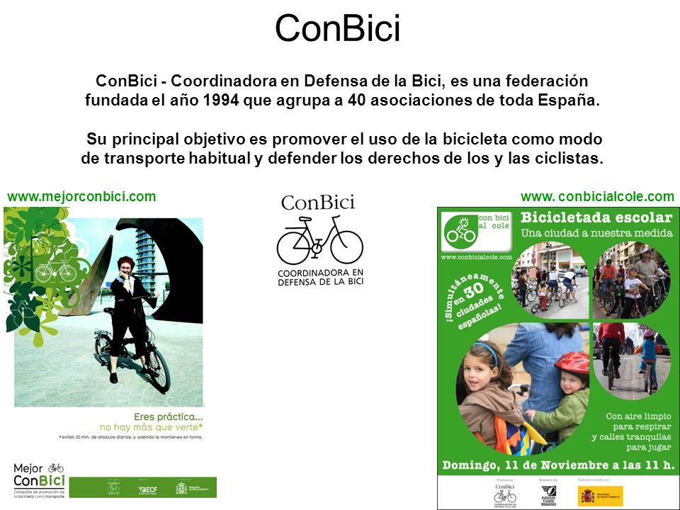 ConBici ConBici - Coordinadora en Defensa de la Bici, es una federación fundada el año 1994 que agrupa a 40 asociaciones de toda España.