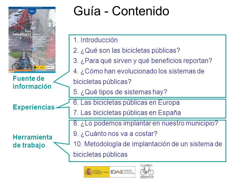 Guía - Contenido 1. Introducción 2. ¿Qué son las bicicletas públicas