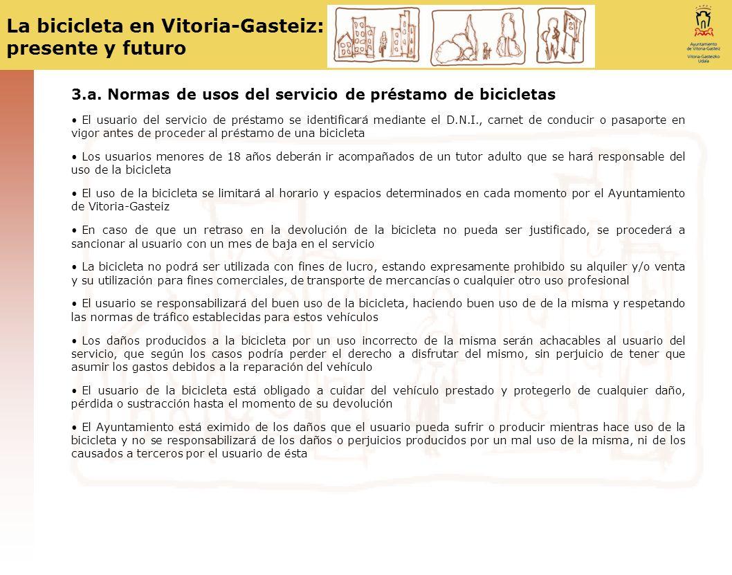 3.a. Normas de usos del servicio de préstamo de bicicletas