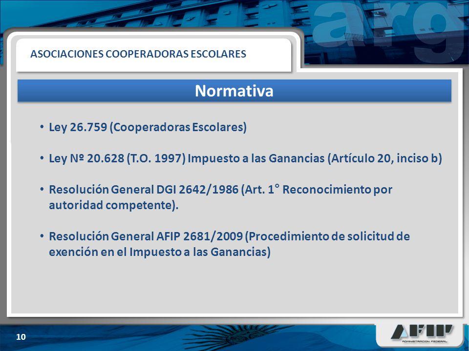 Normativa Ley 26.759 (Cooperadoras Escolares)