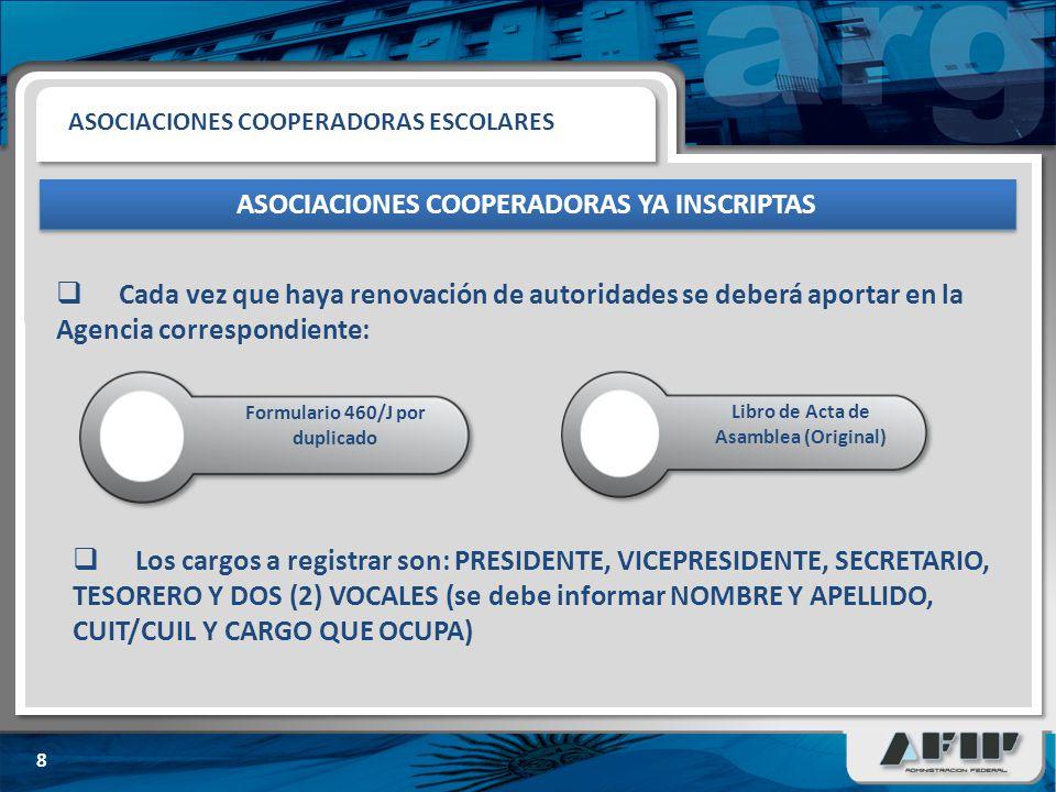 ASOCIACIONES COOPERADORAS YA INSCRIPTAS