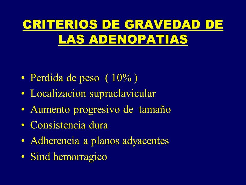 CRITERIOS DE GRAVEDAD DE LAS ADENOPATIAS