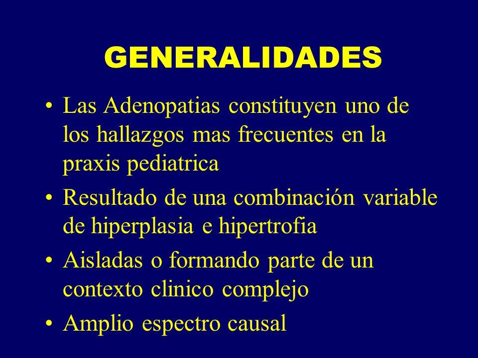 GENERALIDADES Las Adenopatias constituyen uno de los hallazgos mas frecuentes en la praxis pediatrica.