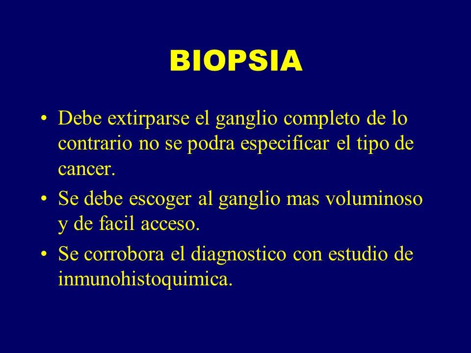 BIOPSIA Debe extirparse el ganglio completo de lo contrario no se podra especificar el tipo de cancer.