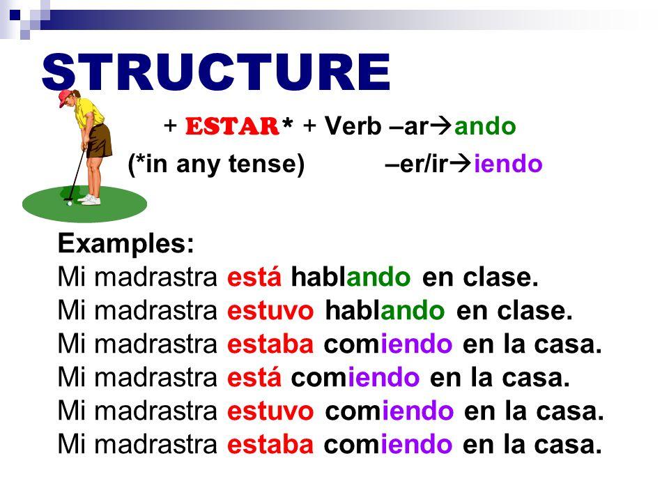 STRUCTURE Examples: Mi madrastra está hablando en clase.