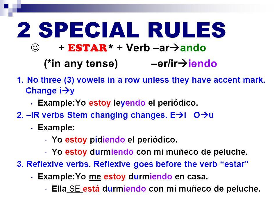 2 SPECIAL RULES  + ESTAR* + Verb –arando