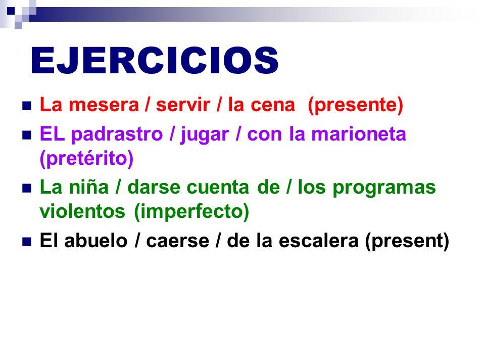 EJERCICIOS La mesera / servir / la cena (presente)