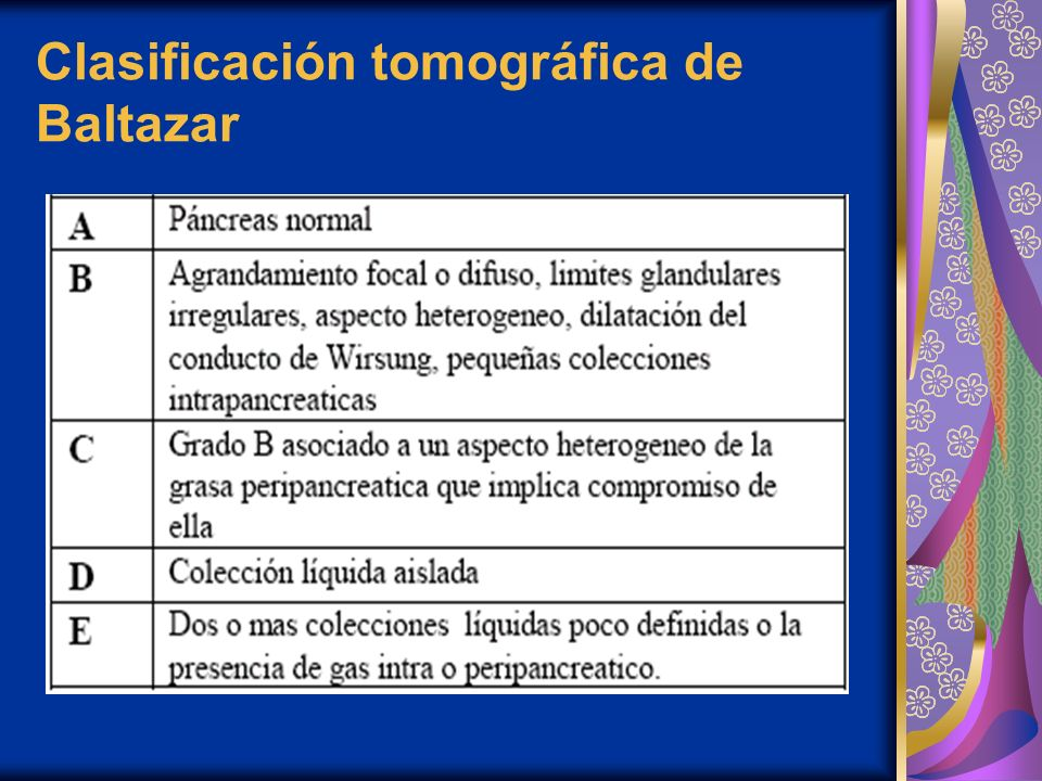 Clasificación tomográfica de Baltazar
