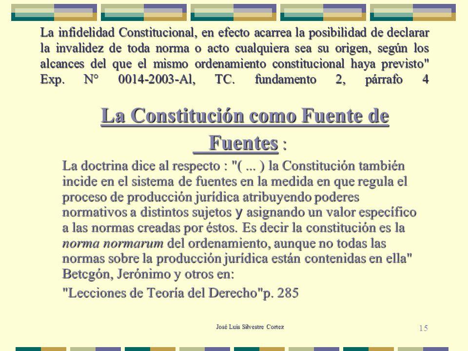 La Constitución como Fuente de Fuentes :