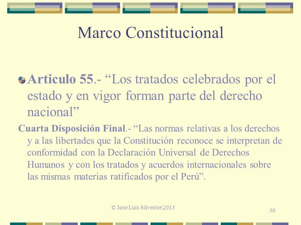 Marco Constitucional Articulo 55.- Los tratados celebrados por el estado y en vigor forman parte del derecho nacional