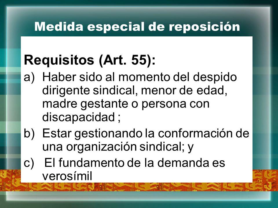 Medida especial de reposición