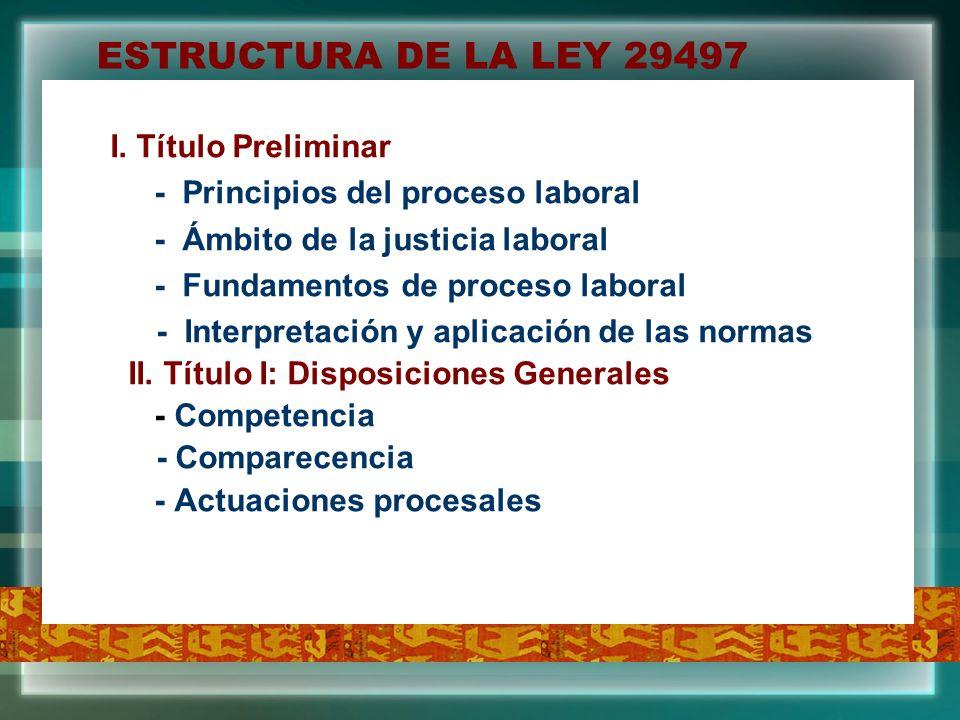 ESTRUCTURA DE LA LEY 29497 I. Título Preliminar
