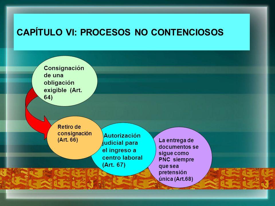 CAPÍTULO VI: PROCESOS NO CONTENCIOSOS