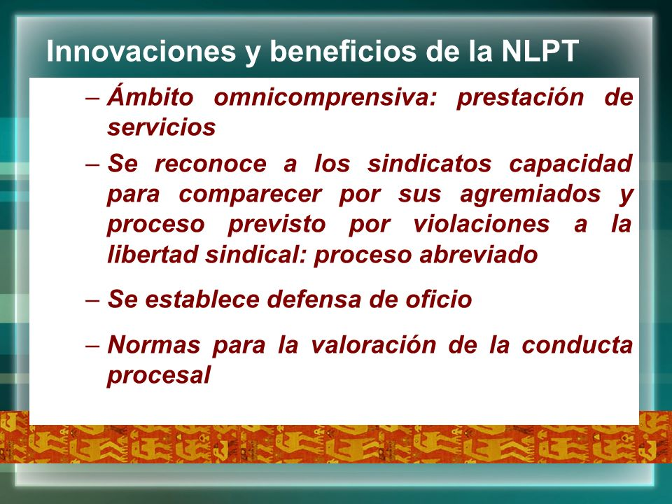 Innovaciones y beneficios de la NLPT