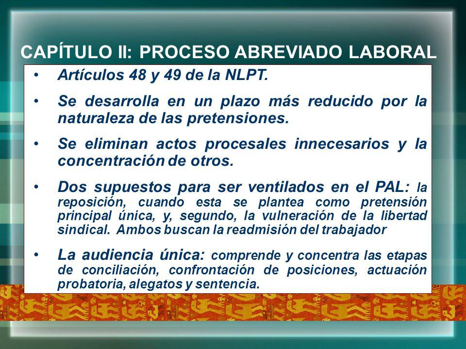 CAPÍTULO II: PROCESO ABREVIADO LABORAL