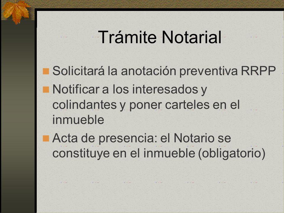Trámite Notarial Solicitará la anotación preventiva RRPP