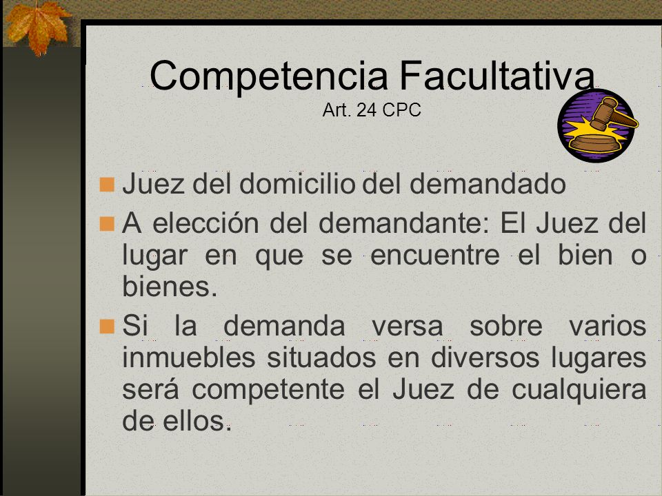 Competencia Facultativa Art. 24 CPC