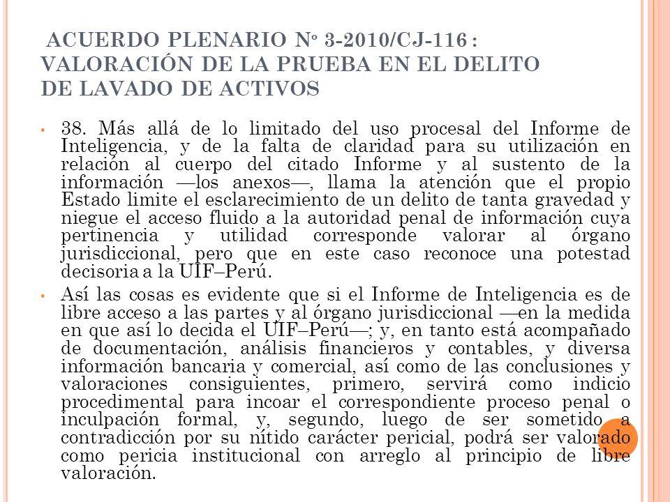 ACUERDO PLENARIO Nº 3-2010/CJ-116 : VALORACIÓN DE LA PRUEBA EN EL DELITO DE LAVADO DE ACTIVOS