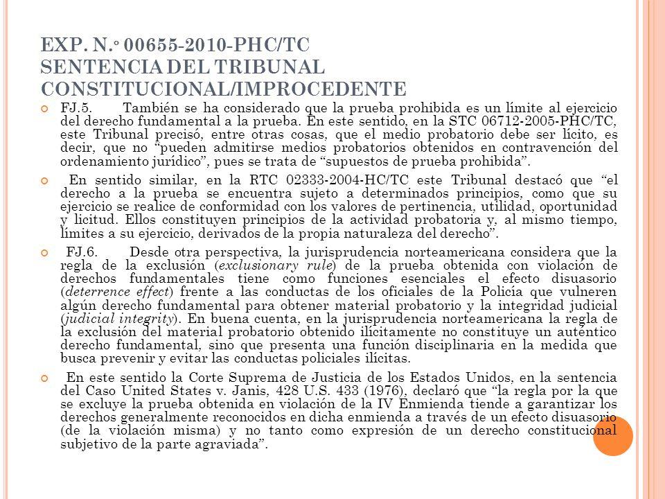 EXP. N.º 00655-2010-PHC/TC SENTENCIA DEL TRIBUNAL CONSTITUCIONAL/IMPROCEDENTE